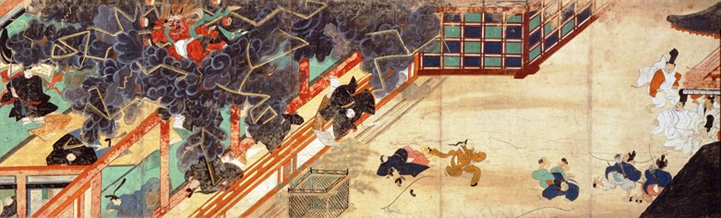 北野天神縁起絵巻に描かれた、清涼殿落雷事件.jpg